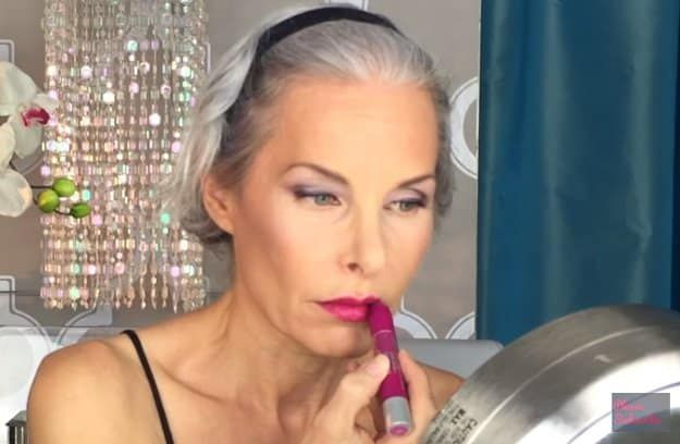Apply lipstick | Glam Makeup For Mature Skin Tutorial
