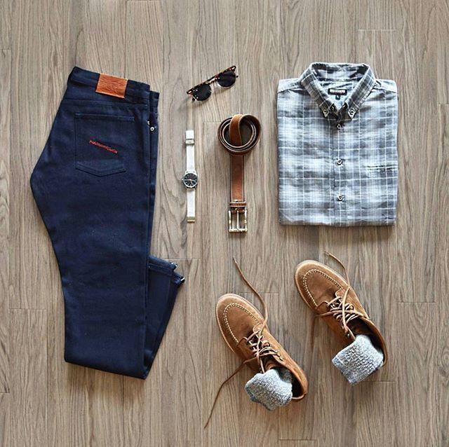Collaboration Grid by @the_gridshop  Follow  @stylishgridgame   www.StylishGridGame.com  Brands ⤵ Shirt + Jeans: @bridgenboro Shoes: @jcrewmens Watch: @skagendenmark Sunglasses: @hm Belt: @nordstrom