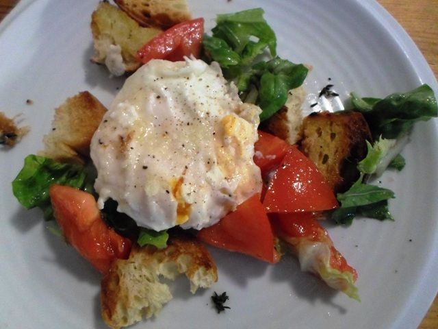 #Panzenella salad with #garlic bread and #parmesan coated #poached_egg #egg #recipe