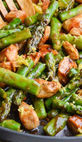 Lemony Chicken Stir Fry with Asparagus-cook chicken in broth/soy mixture after browning. Add 2Tbls soy sauce and 1-2 Tbls honey and cornstarch