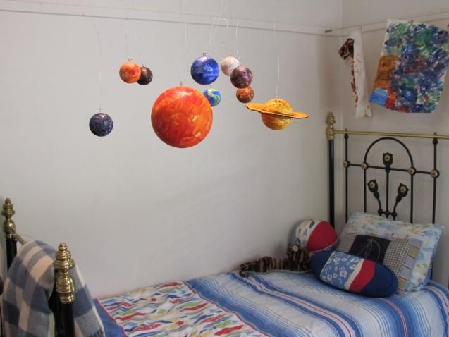 "This inflatable classroom set helps children understand the size and distance relationships of the solar system, while learning about rotation, revolution and orbit through class activities or demonstrations. Includes 36"" Sun and proportionate planets and moon with sizes ranging from 8"" to 22"". Also includes a foot pump, hooks for hanging, and teacher's activity guide. Deflates for easy storage. Via Sciencehipster: http://amzn.to/11reyXw"