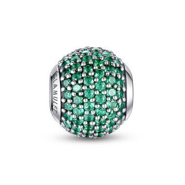 May Birthstone-Emerald green paved crystal charm
