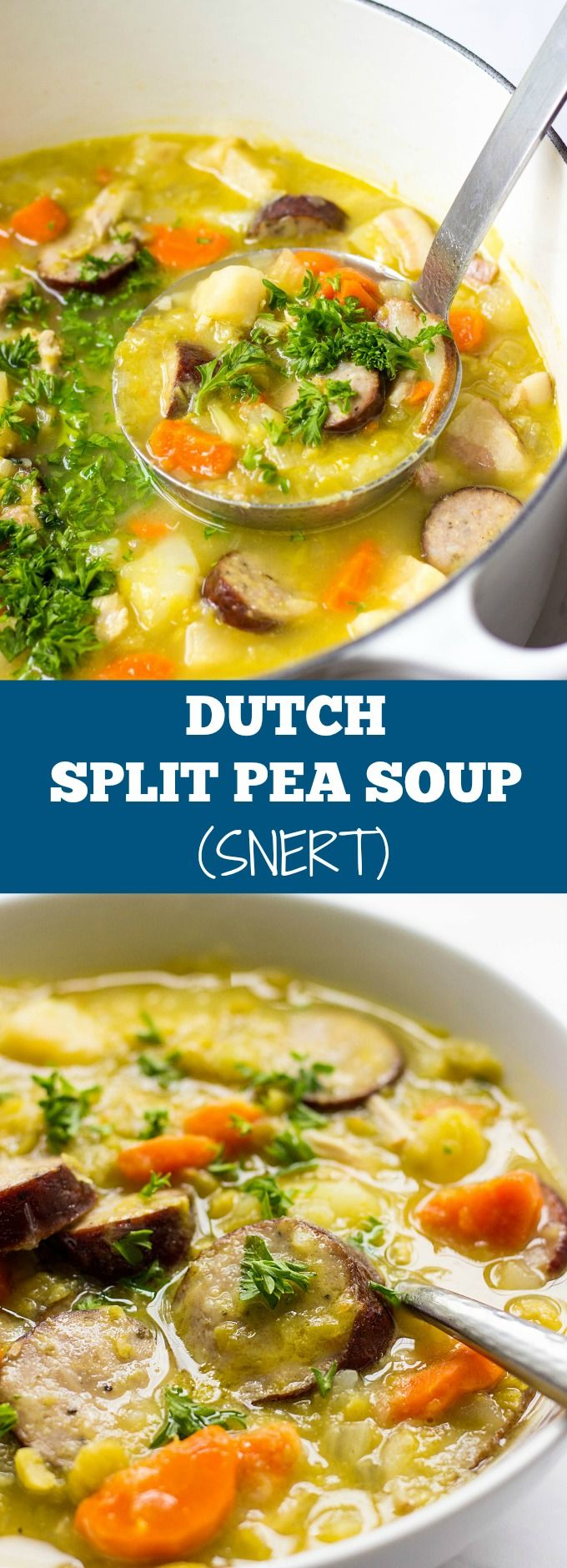 Craving hearty soup recipes? This Dutch Split Pea Soup With Bacon And Sausage is the ultimate comfort food for a cold weather. #splitpeasoup #comfortfoodrecipes #souprecipes
