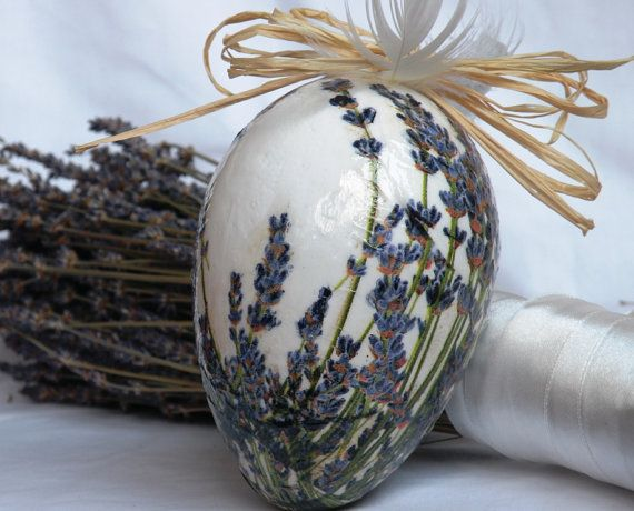 Decorated egg Decoupage goose egg Floral décor Home décor Lavender flowers Lavender decor Hanging egg