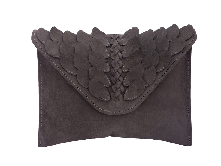 Grey Winged Envelope Clutch by AlinaNaidu on Etsy, £78.00
