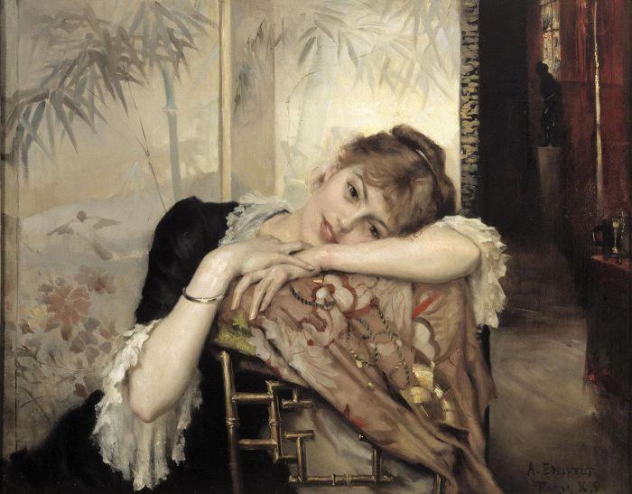 Albert Edelfeltin teos Pariisitar (Virginie) vuodelta 1883 edustaa japonismia niin taustan sermin, itämaisen tuolin kuin tuolille levitetyn kimononkin puolesta.