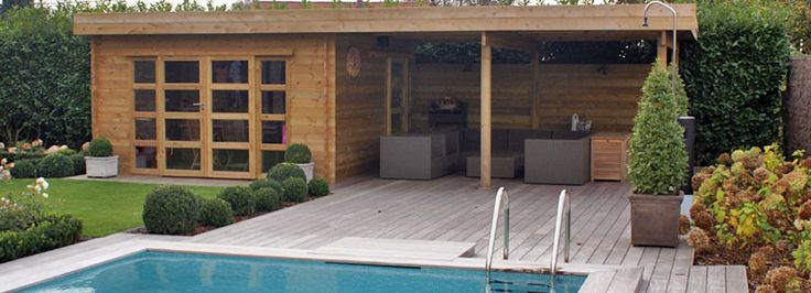 Photo pool house moderne bois arras pas de calais for Luminaire terrasse bois