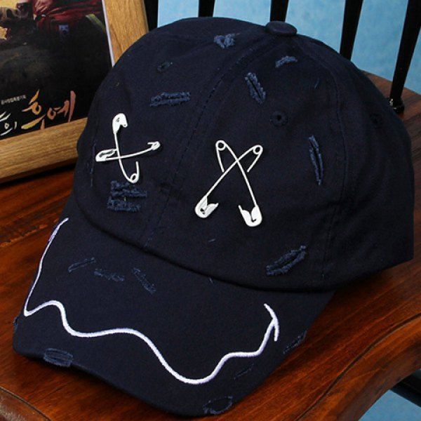 Stylish Safety Pin Embroidery Broken Hole Embellished Baseball Cap For Men #CLICK! #clothing, #shoes, #jewelry, #women, #men, #hats, #watches