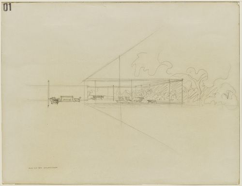 """Gericke House Project, Berlin-Wannsee, Germany, Interior perspective  Ludwig Mies van der Rohe (American, born Germany. 1886–1969)    1932. Pencil on illustration board, 19 x 26 1/2"""" (48.3 x 67.3 cm). Mies van der Rohe Archive, gift of the architect. © 2012 Artists Rights Society (ARS), New York / VG Bild-Kunst, Bonn"""