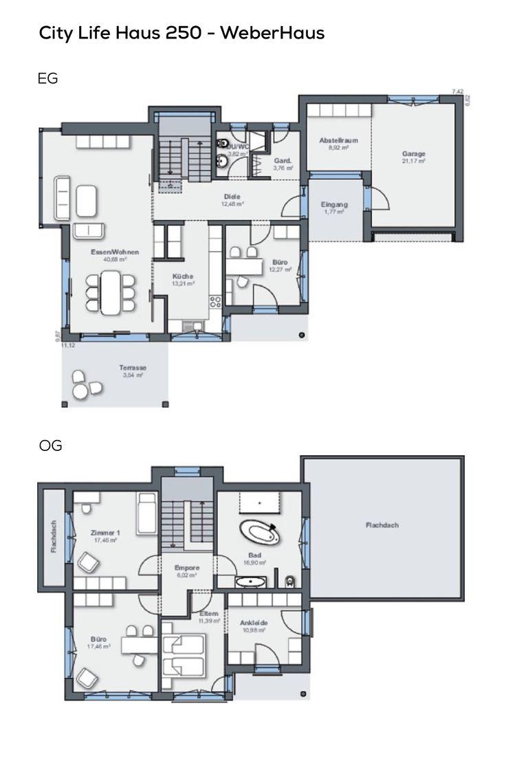 Einfamilienhaus Grundriss mit Garage 5 Zimmer, Walmdach