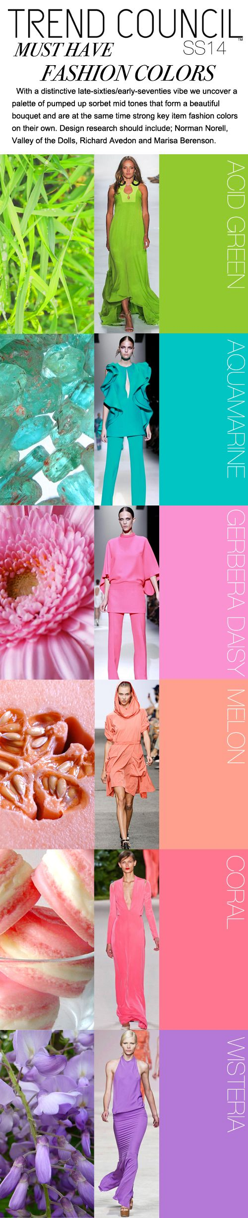 Here is Trend Council's SS 2014 COLOR TRENDS FIRECAST  Late 60s-early 70s...that's something us 60-something's know a thing or two about!