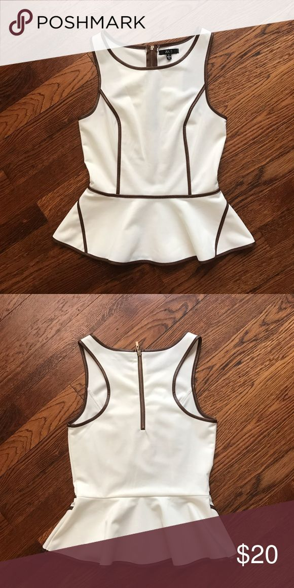 Cream & Faux Leather Peplum Top Amazing top! Good condition I love this too but need room in my closet!  🙅🙅 No Trading  💁 Reasonable Offers are Always Welcomed Boutique Tops Tank Tops