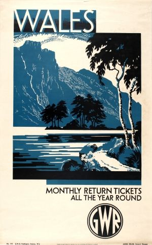 Wales GWR, 1930s - original vintage Great Western Railway (GWR) poster by G Baker listed on AntikBar.co.uk