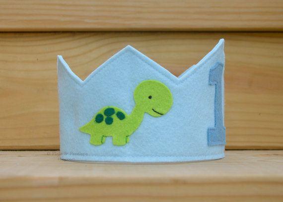 Felt Dinosaur Crown Boy Birthday First by pixieandpenelope on Etsy