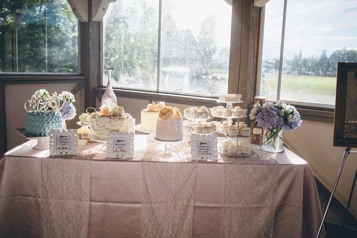 Beautiful cake and sweets table for this Elk Ridge Resort Wedding https://mjand.co/elk-ridge-resort-wedding-photography/