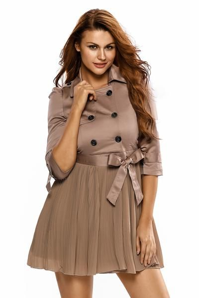 a60be6c78287 Never get wrong with this buttoned dress designed with an elegant pleated  skirt. It looks so stylish which you can wear on any accassion.