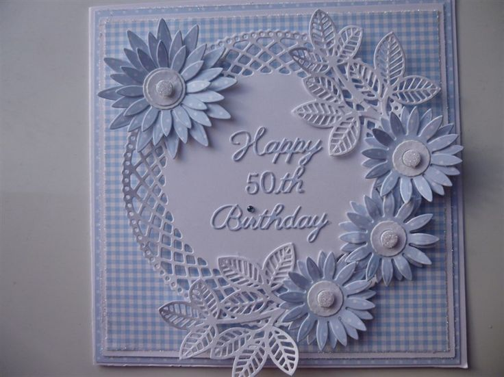 Commissioned 50th Birthday card. Blue this time