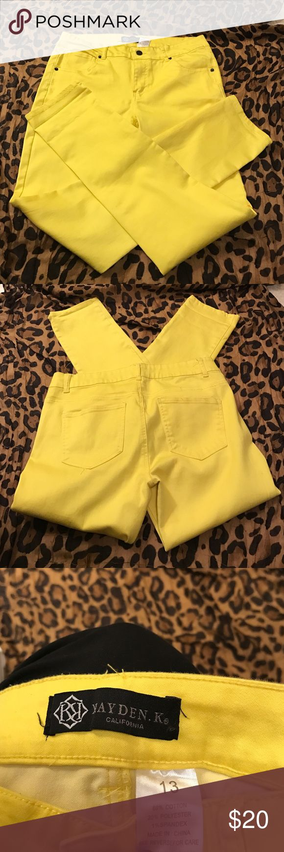 """Yellow Skinny """"jeans"""" Yellow skinny jeans (feel like leggings almost) not actually denim Size: 13 but fits like a 8 or 10(mark the listing as a 8 because these do NOT fit like a 13. New without tag/ the first picture is only an example of how to wear this item Kayden.K Jeans Skinny"""