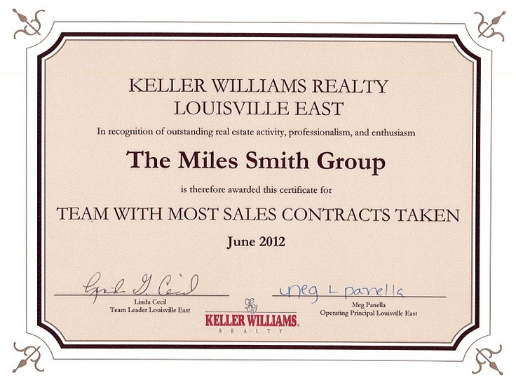 June   Team With The Most Sales Contracts Taken At Keller
