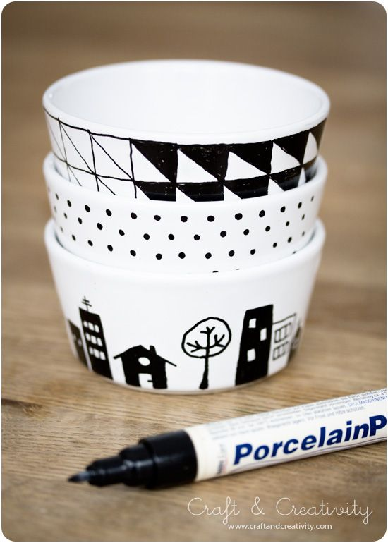Painted Porcelain Mugs: All you need is mugs and a porcelain marker. Draw your design, then while it's still wet use a wet paper towel to wipe away errors. After a drying time of 4 hours, cure at 160°C in a non-preheated kitchen oven for 30 minutes.