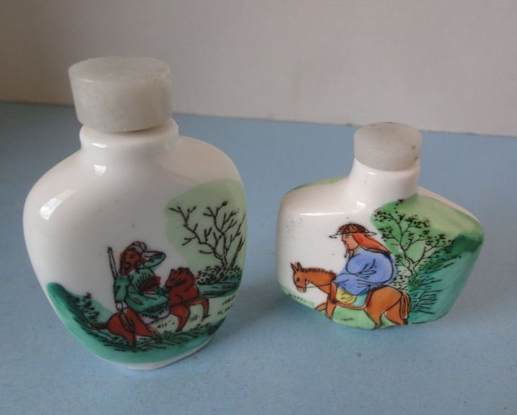 Two Vintage Hand Painted Snuff Bottles Horse & Riders Porcelain Snuff…