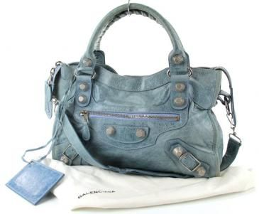 $800 Balenciaga The Giant 12 City Bag With Silver Hardware In Lambskin