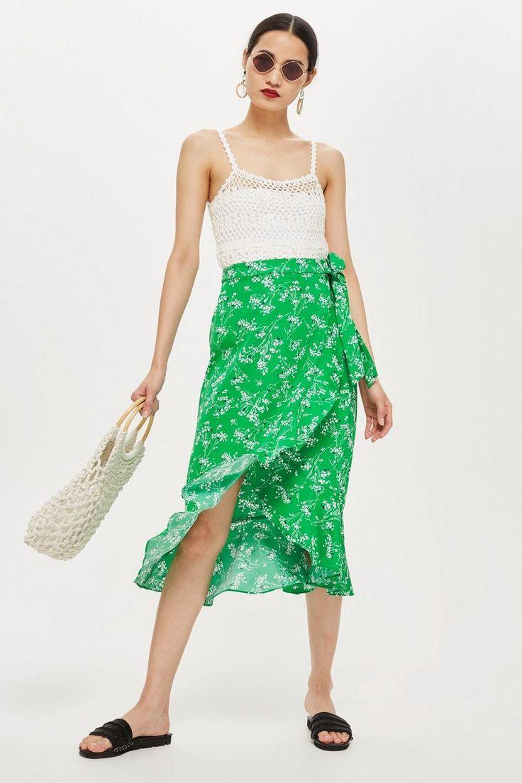green floral wrap midi skirt // topshop   Floral print midi skirt ...