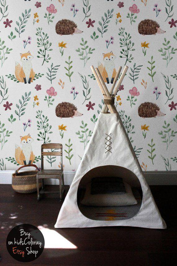 Papier Peint Enfants Animaux Fox Herisson Plantes Murale