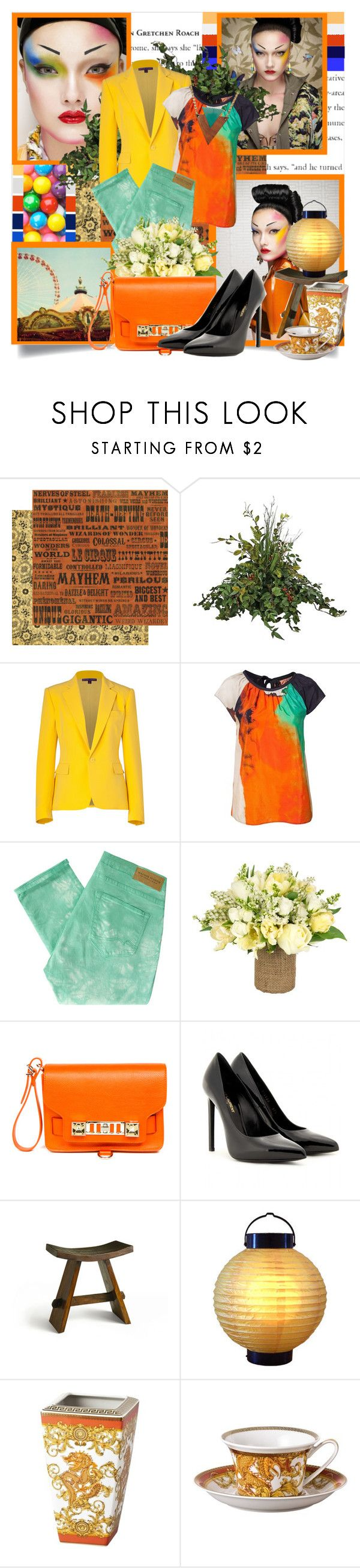 """Geisha"" by lavette-daltons ❤ liked on Polyvore featuring Yumi, Ralph Lauren Collection, BOSS Orange, Maison Scotch, Jayson Home, Proenza Schouler, Yves Saint Laurent, Rosenthal, boyfriend blazers and top"