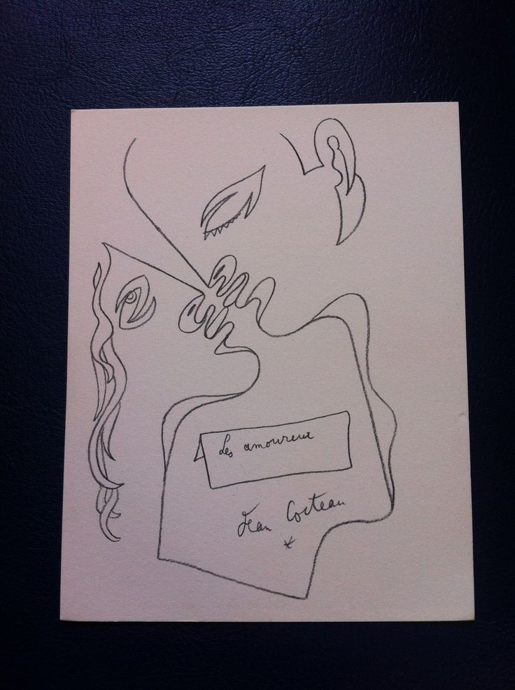 Carte Galerie Artiste Jean Cocteau Sodia Tarascon 70B10 Dessin LES Amoureux 18cm   eBay