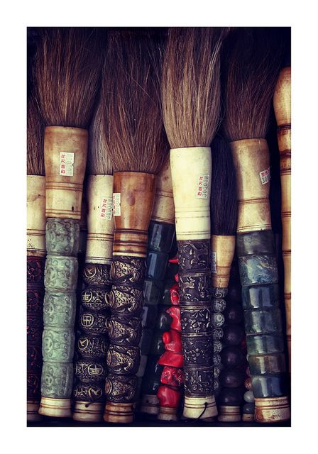 Calligraphy brushes - Insadong - Seoul - Korea. Love all the hanji paper & brush shops. Insadong is a place to buy traditional Korean goods. V.