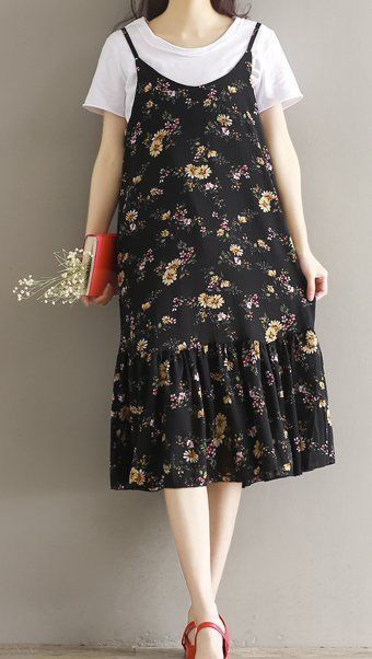 Women loose fitting over plus size retro flower mermaid dress tunic pregnant #Unbranded #dress #Casual