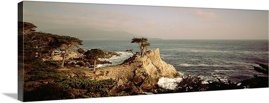 High angle view of a cliff along the sea, Seven Mile Beach, California