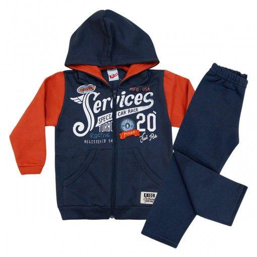 Compre Conjunto masculino infantil em moleton. Look completo contendo blusa em moleton flanelado, de manga longa, com capuz. R$ 63,90 em 3x sem juros.