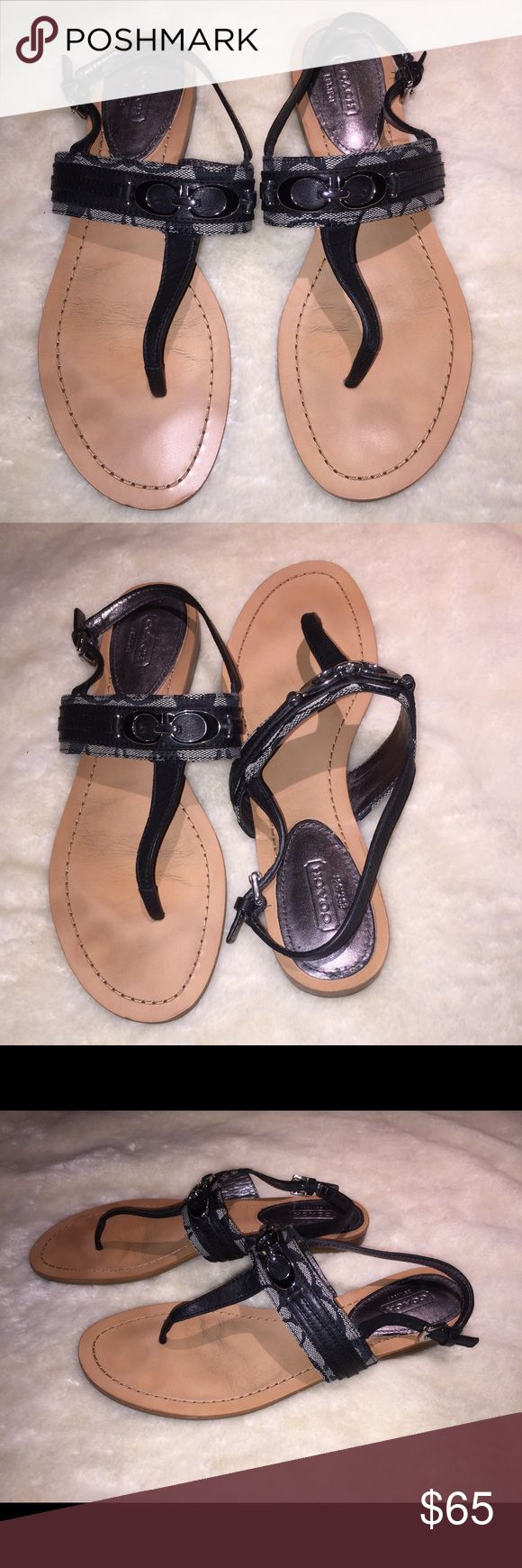 Woman's Coach Flat Logo Sandals Shoes GUC 10 Woman's Coach Logo Sandals  Size 10  Black & Tan with Signature Logo  Adjustable Strap Close  These are in Great Shape Coach Shoes Sandals