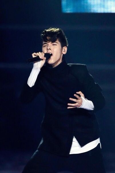 Kristian Kostov at the 62nd Eurovision Song Contest at International Exhibition Centre (IEC) in Kiev, Ukraine 2017.