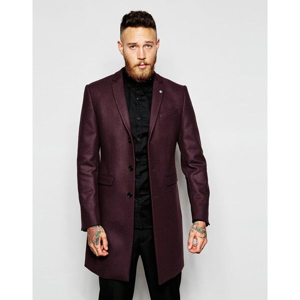 Noose & Monkey Wool Overcoat (580 BRL) ❤ liked on Polyvore featuring men's fashion, men's clothing, men's outerwear, men's coats, wine, mens wool outerwear, mens slim fit wool coat, mens slim fit trench coat, mens wool coat and big tall mens wool coats