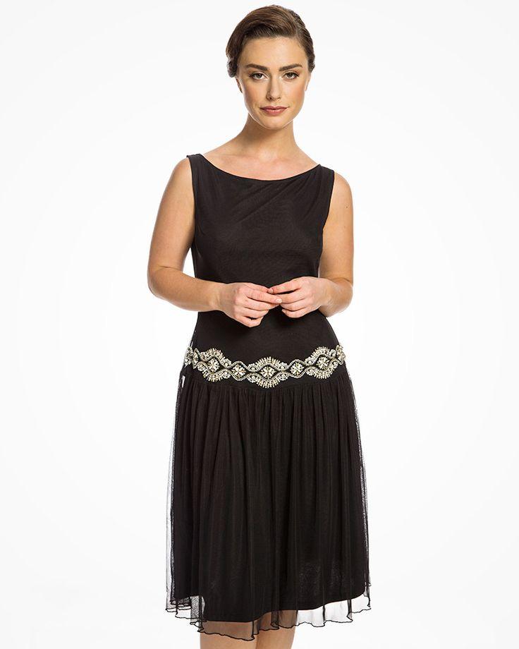 5b864dc12efd  Giselle  Black Embellished Mesh Prom Dress