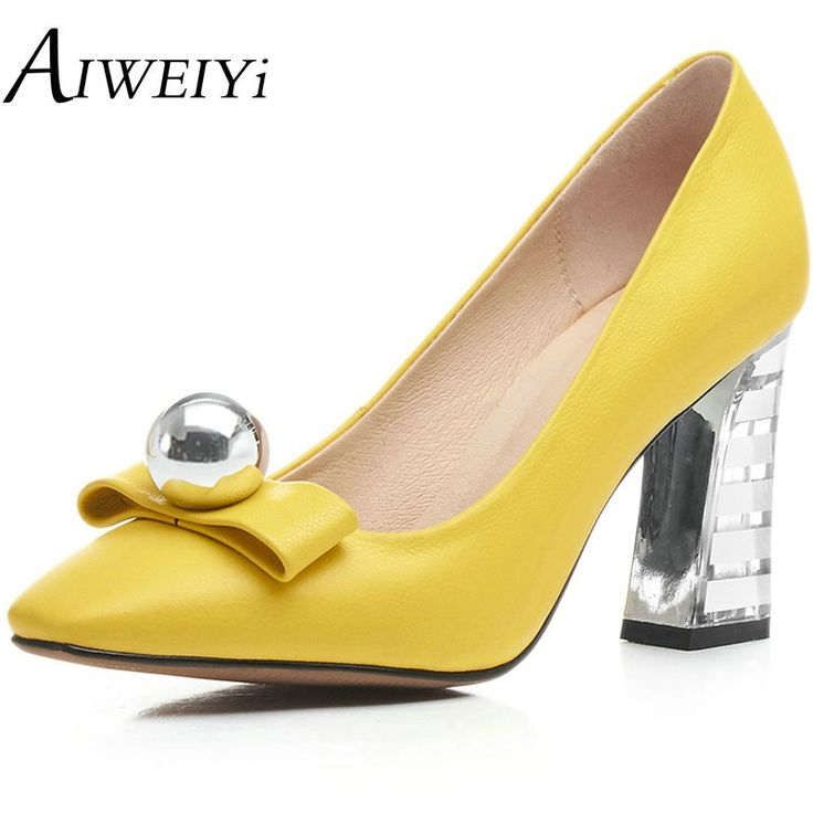 87.82$  Buy here - http://aliv0g.worldwells.pw/go.php?t=32792364148 - AIWEIYi 2017 Women Pumps Ladies Shoes Thick High Heels Pearl Square toe Genuine Leather Slip on Woman Wedding Shoes Size 34-40 87.82$