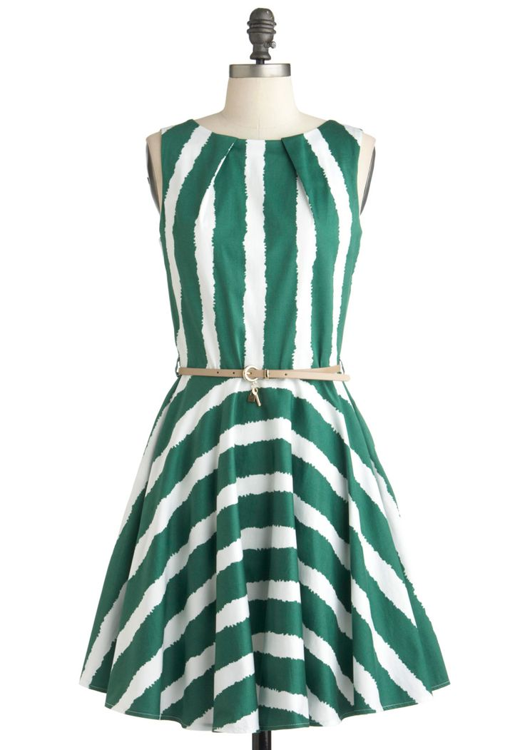 Simple: Using broad stripes to create definition: Ladies Dresses, Style, Modcloth, Luck, Retro Vintage Dresses, Cocktail, Green Stripes