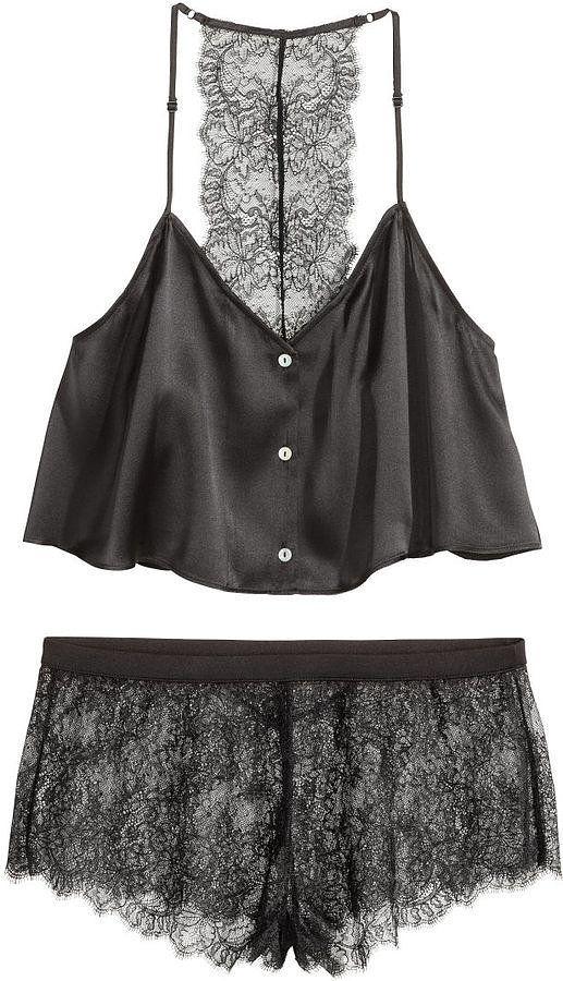 H&M Pajamas in Silk and Lace - Black - Ladies ($70)