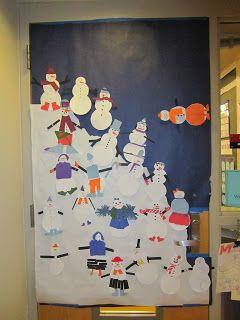 Allemaal leuke sneeuwpoppen op de deur