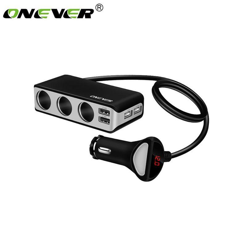 Onever 4 USB Port 3 Way Car Cigarette Lighter Socket //Price: $15.49 & FREE Shipping //     #gps