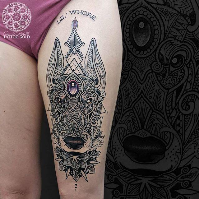 Mosaic flow pet portrait- Doberman dog on my client Jackie :)