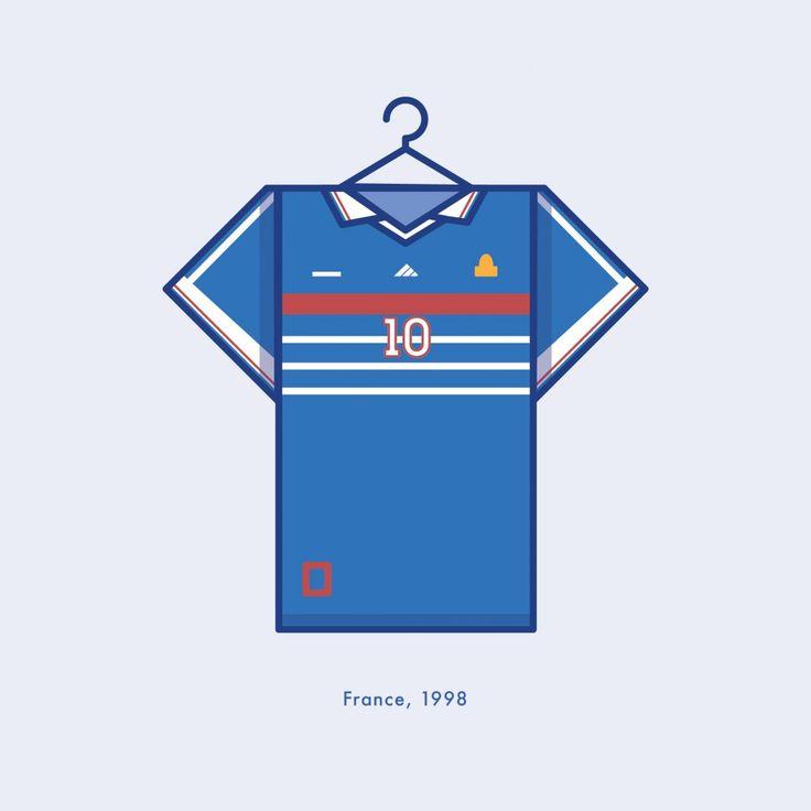 World Cup Minimal Football Kits France 1998 Illustration | Lucas Jubb Design & Illustration
