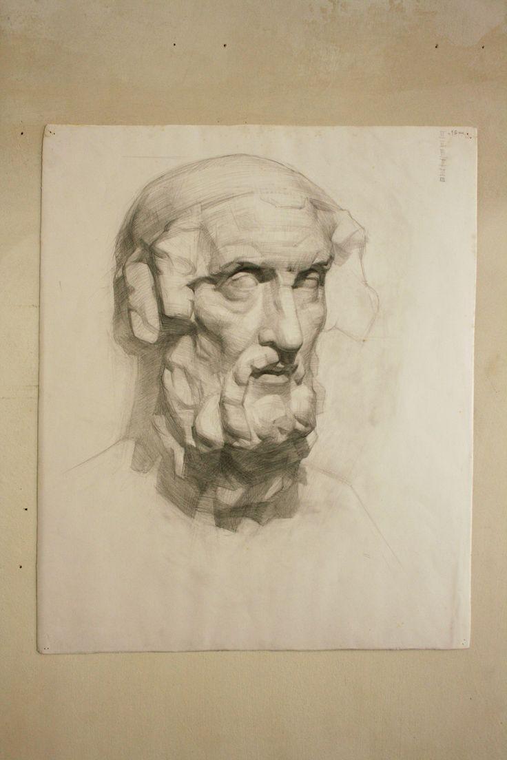 Gipskopf studie 15 Stunden. (Zeichnung/Bleistift)