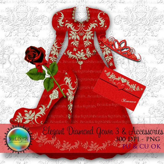 Elegant Valentine Red  Diamond Gown and by Beauladigitals on Etsy