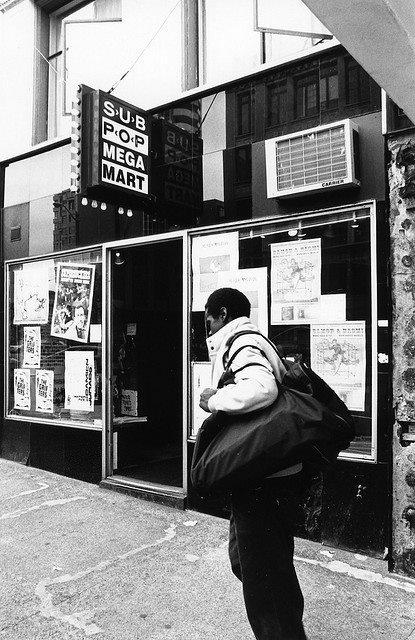 Sub Pop Mega Mart in the Moore Theatre building, 1983. Via Kerri Harrop.
