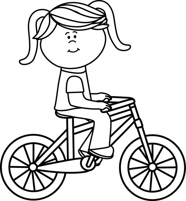 kids riding bikes coloring pages | Gallery For > Bike Black And White Clipart