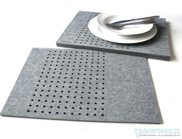 dodatki - kuchnia - obrusy i podkładki-podkładki w kropki, prostokątne szare 6szt